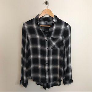 Topshop Flannel Windowpane Plaid Black White Shirt